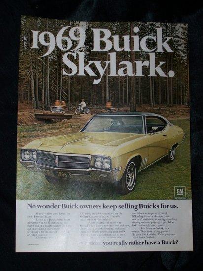 Vintage 1969 BUICK SKYLARK Great Outdoors Camp Print Ad