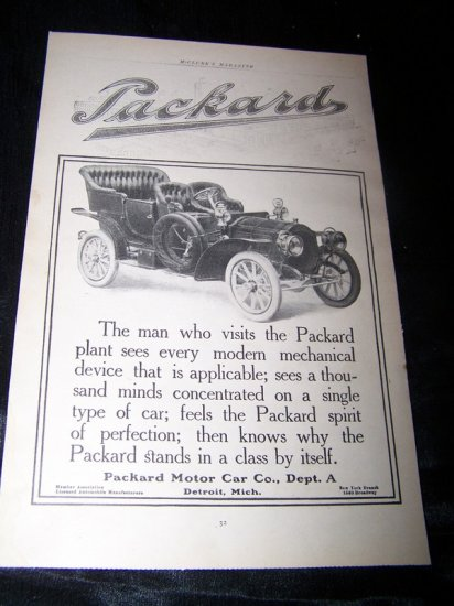 Vintage 1906 PACKARD Motor Car Automobile Print Ad