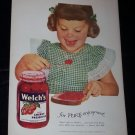 Vintage 1947 WELCH'S CHERRY PRESERVES Child Print Ad