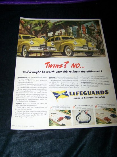 Vintage 1945 GOODYEAR LIFEGUARDS Tire Print Ad