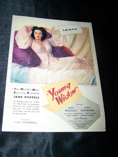 Vintage 1946 YOUNG WIDOW Jane Russell Movie Print Ad
