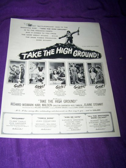 Vintage TAKE HIGH GROUND Richard Widmark Movie Print Ad