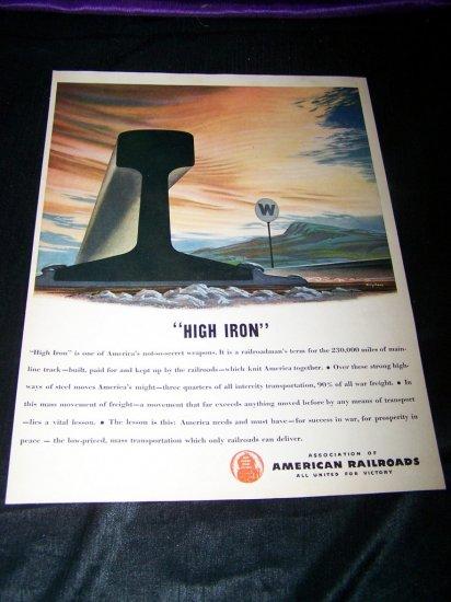Vintage 1945 HIGH IRON American Railroads Print Ad