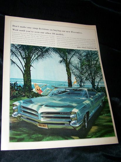 Vintage 1966 WIDE TRACK PONTIAC Relax Beach Print Ad
