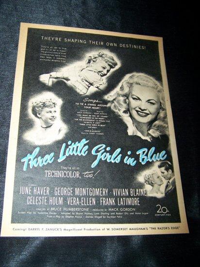 Vintage 1946 THREE LITTLE GIRLS IN BLUE Movie Print Ad