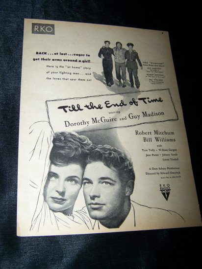 Vintage 1946 TILL THE END OF TIME WWII 2 Movie Print Ad