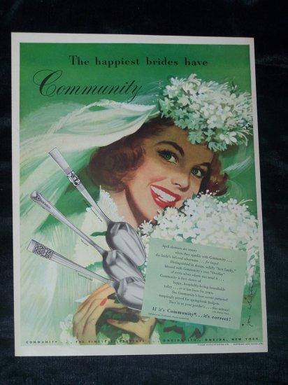 Vintage 40s Oneida Community Silverplate Bride Print Ad