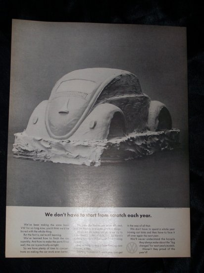Vintage 1966 Volkswagen VW Beetle Plaster Art Print Ad