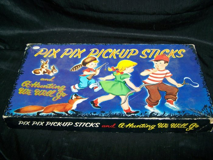 Vintage Pix Pick-Up Sticks A-HUNTING WE WILL GO Game