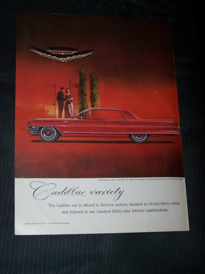 Vintage 1965 Red CADILLAC SEDAN DE VILLE Jewel Ad