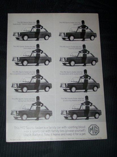 Vintage 1960s MG Sports Sedan British Guard Print Ad