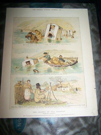 Antique LEGEND OLD CHROMER Randolph Caldecott Art Print