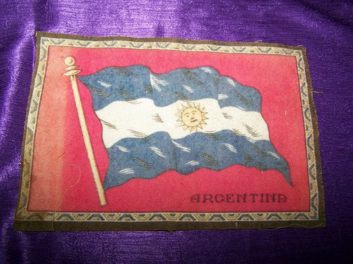 """Antique TOBACCO Flannel Felt 8"""" ARGENTINA FLAG Premium"""