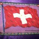 """Antique TOBACCO Felt 11"""" SWITZERLAND FLAG Premium"""