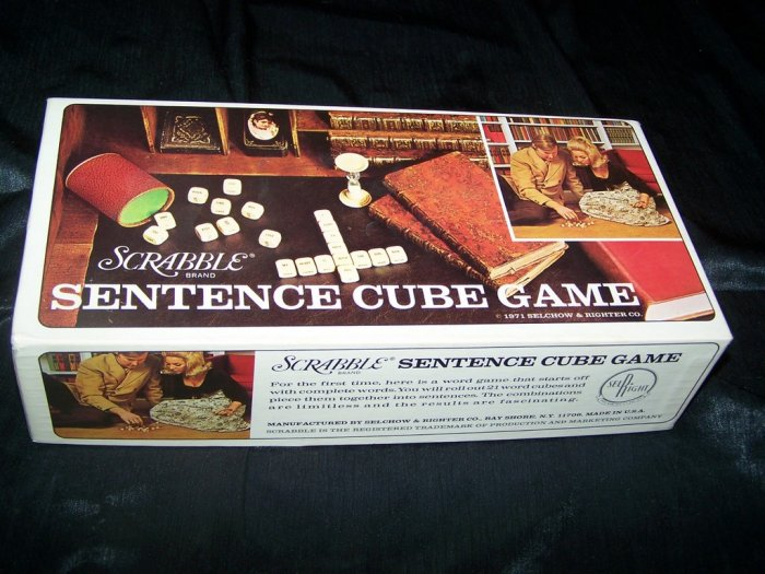 Vintage SCRABBLE SENTENECE CUBE GAME Selchow & Righter