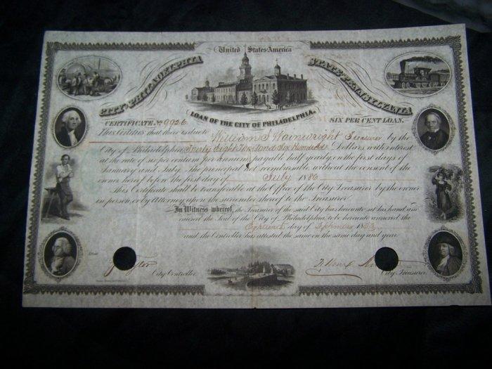 Antique LOAN OF CITY PHILADELPHIA PA 1856 Certificate