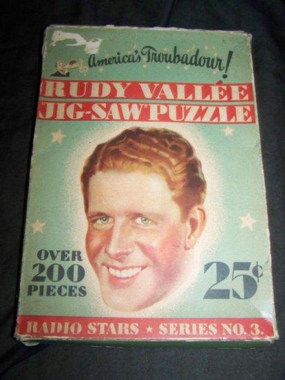 Vintage 1930s RUDY VALLEE Jigsaw Puzzle~Radio Series~Box