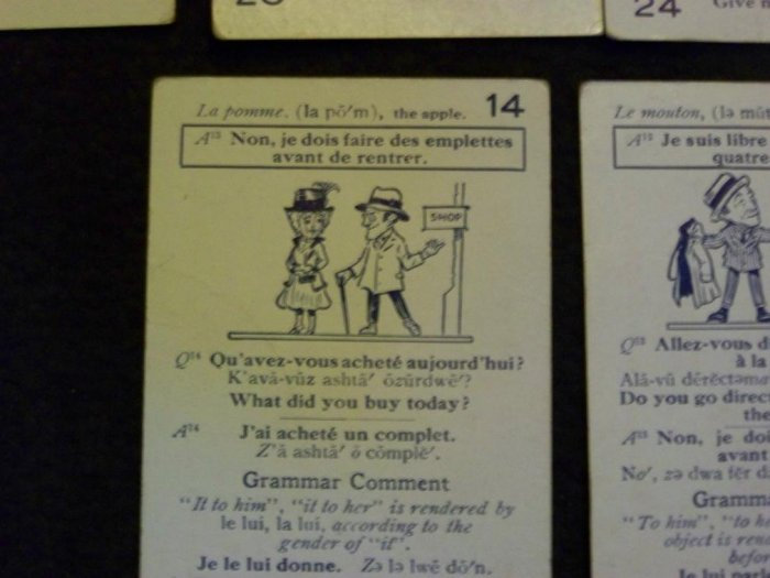 Antique~FRENCH LINGO~Language~Card GAME~Hy Gage Comic