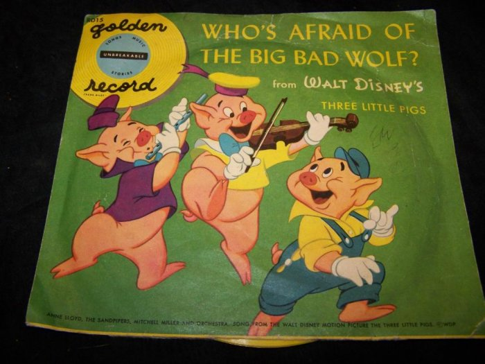 Vintage THREE LITTLE PIGS Big Bad Wolf Golden Record 78 RD15