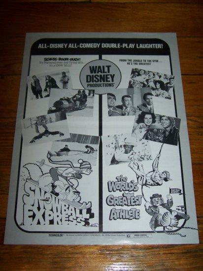 Vintage Disney WORLD'S GREATEST ATHLETE Snowball Express Movie Pressbook