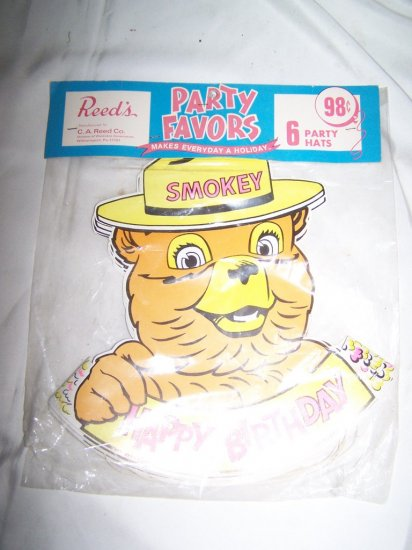 Vintage 1960s SMOKEY BEAR Happy Birthday Party Hats MINT