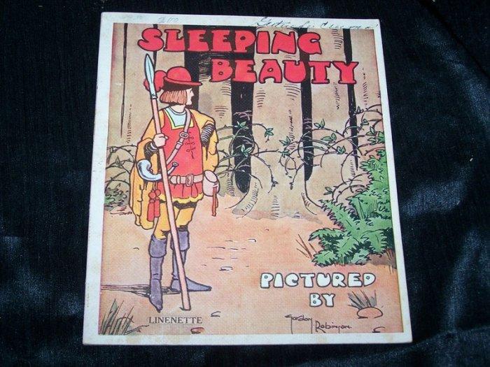 Antique 1930s SLEEPING BEAUTY Children's Linenette Book