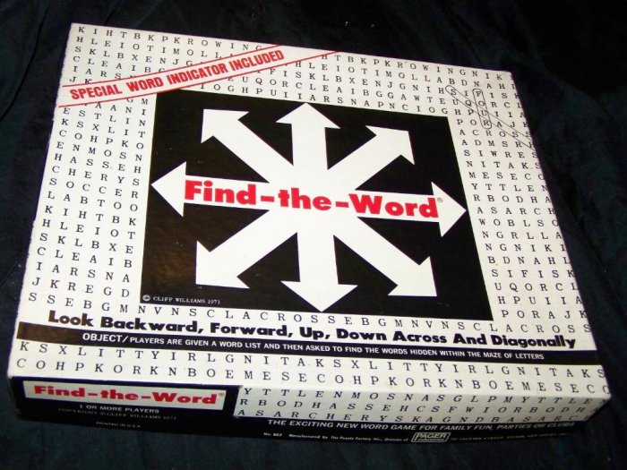 Vintage 1971 FIND-THE-WORD Finder~Cliff Williams~Game