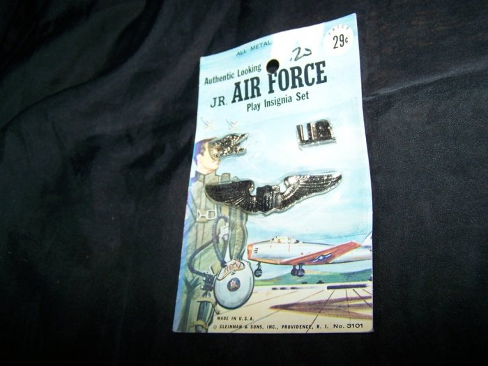 Vintage 1960s All Metal JR AIR FORCE Play Insignia Toy Set