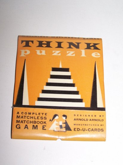 Vintage 1950s THINK PUZZLE Matchless Matchbook Game