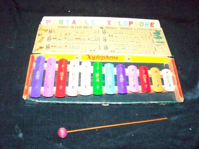 Vintage 1940s-1950s Metal PORTABLE XYLOPHONE Toy Mallet Box