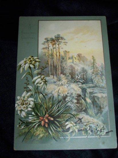 Antique 1880s Chromo Litho CHRISTMAS CARD Snow Castle