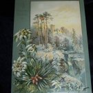 Antique 1880s Chromo Litho CHRISTMAS CARD Snow Castle