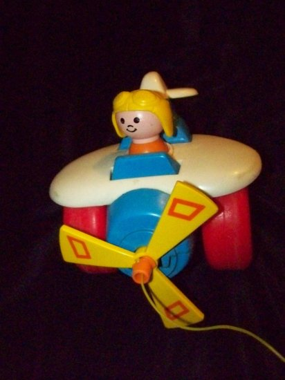 Vintage FISHER PRICE Airplane Plane Pilot #171 Pull Toy
