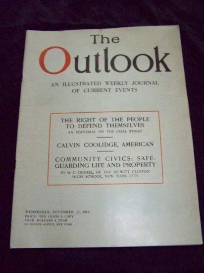 Vintage OUTLOOK Magazine Nov 12 1919 CALVIN COOLIDGE