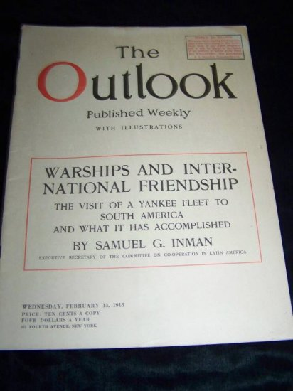 OUTLOOK Magazine Feb 13 1918 WARSHIPS WWI South America