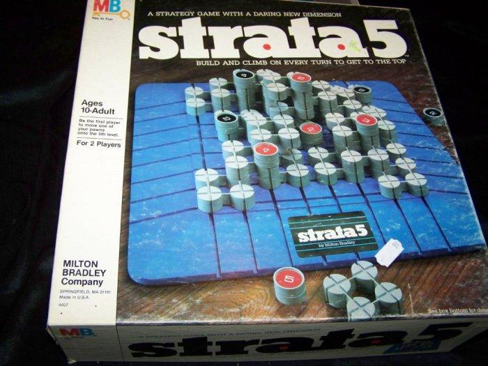 Vintage 1980s STRATA 5 Milton Bradley Board Game COMPLETE