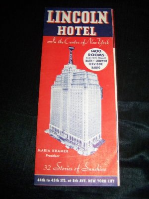Vintage 1941 LINCOLN HOTEL New York City Brochure Map