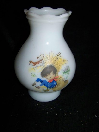 Vintage Glass Nursery Rhyme~Lamp Shade LITTLE BOY BLUE