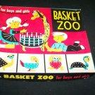 Vintage 1960s BASKET ZOO Animal Weaving Toy Play Set