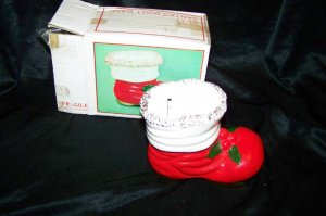 Vintage Christmas SANTA'S BOOT Ceramic BANK Made in Japan with Box