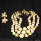 Antique CLAY MARBLE BEAD Necklace Easter Jewelry Set