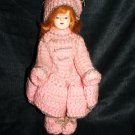 "Vintage 1950s Hard Plastic Pink Winter Fashion 8"" Doll"