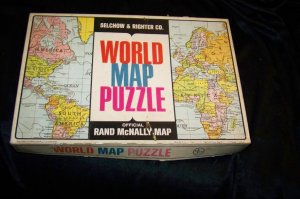 Vintage Selchow & Righter WORLD MAP PUZZLE Rand McNally