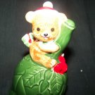 Vintage Lefton Porcelain Teddy Bear CHRISTMAS BELL
