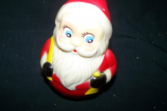 Vintage Santa Claus Roly Poly Small Musical Christmas Toy