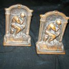 Vintage The Thinker Rodin Bookends by Verona Pot Metal/Bronze Finish