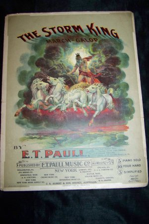 Antique 1902 THE STORM KING Lithograph Sheet Music Neptune Poseidon