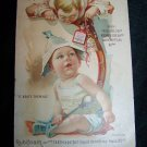 Antique 1896 HOYT'S GERMAN COLOGNE Baby Calendar Victorian Trade Card Tradecard
