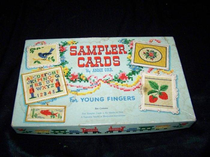 Vintage SAMPLER CARDS Little Fingers Cross-Stitch Toy