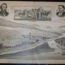 Antique 1870s F.H Hagerman Valley Farm Bradford Co PA Lithograph Print